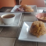 Our lunch - rice, beans, mofongo (plantains) and corn arepas