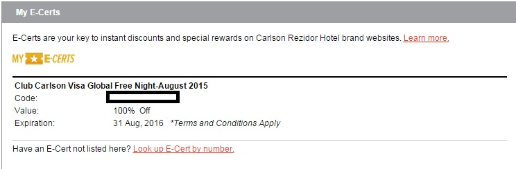 club-carlson-e-certificate-account