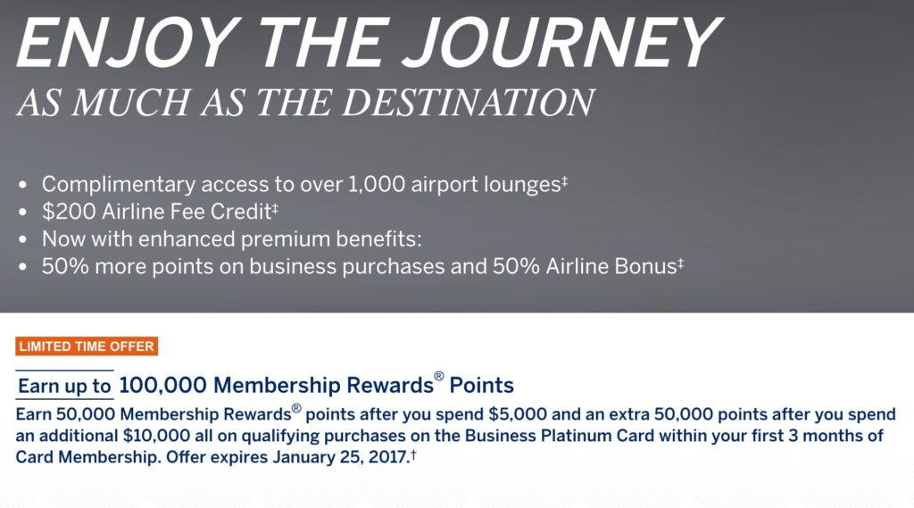 Amex Platinum Business 100,000 point offer - Points with a Crew