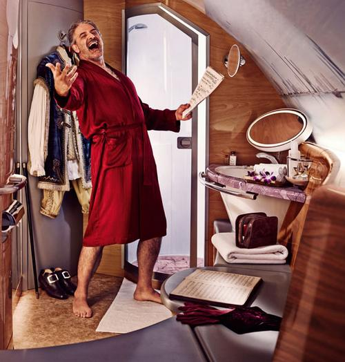 The First Class shower on Emirates might make you feel like this guy (credit: emirates.com)