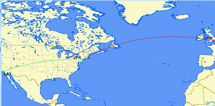"JFK-LHR (roundtrip) plus a ""free"" one-way from JFK-LAX"