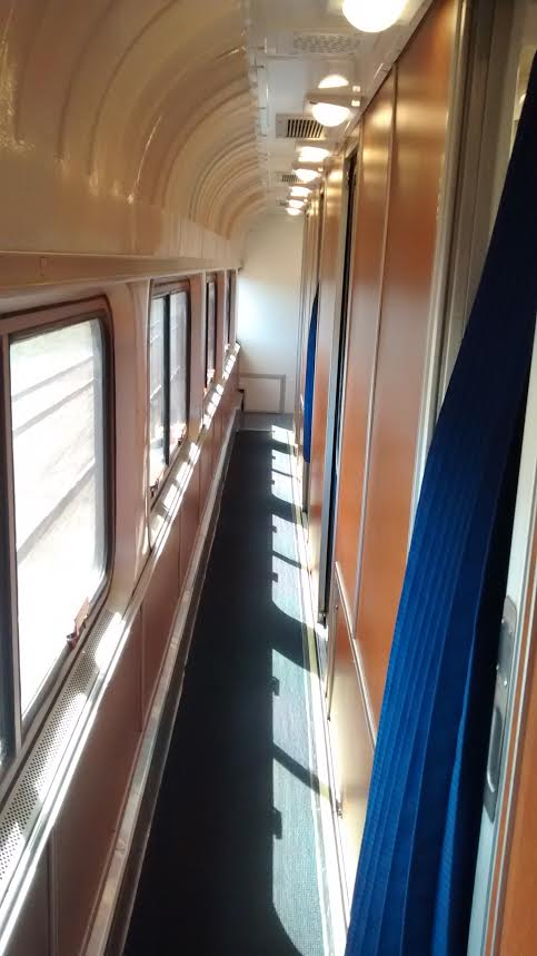 Hallway in the Amtrak Superliner sleeper car