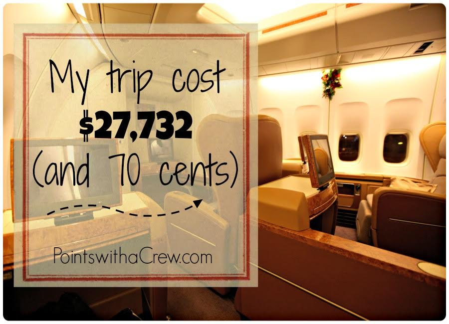 Find how how I took a first class flight  that could have cost $27,732 for PENNIES.  Using airline miles makes flying international first class travel possible!