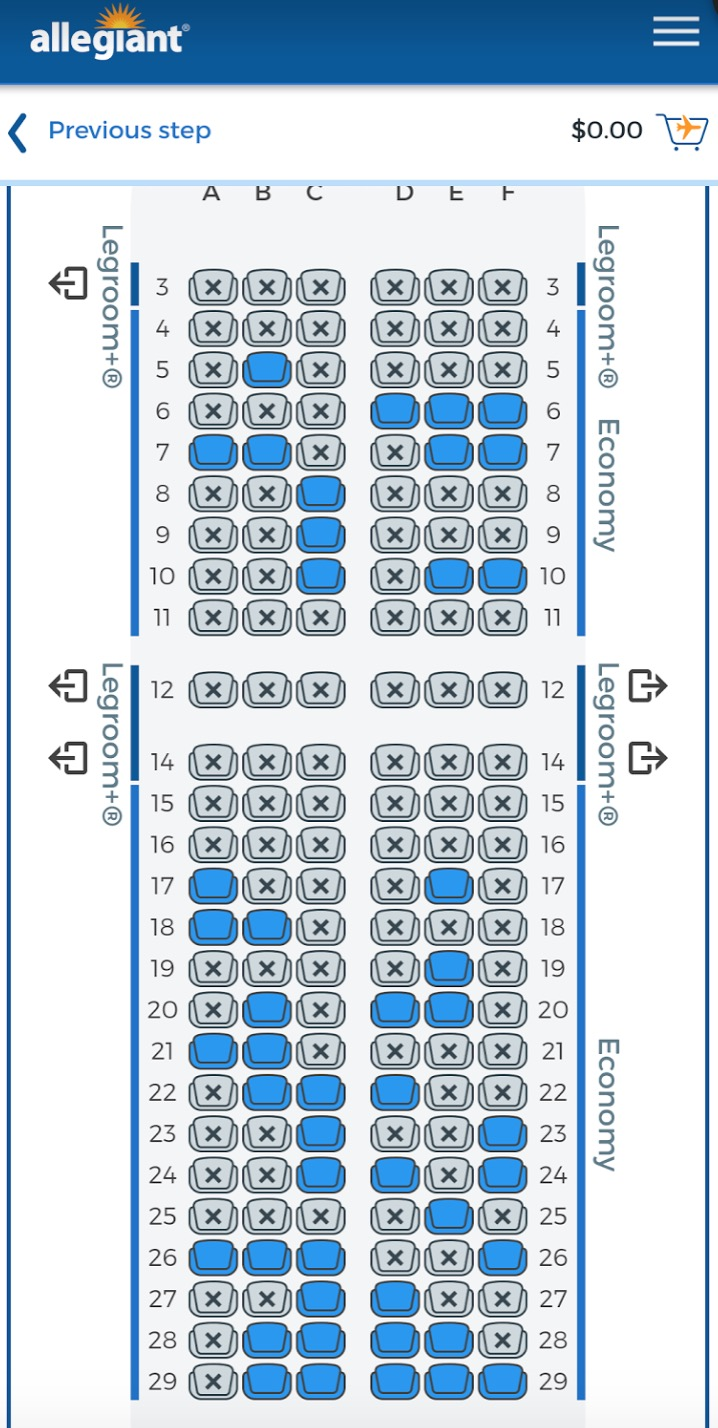 Allegiant Air Seat Map allegiant seat map t 24   Points with a Crew