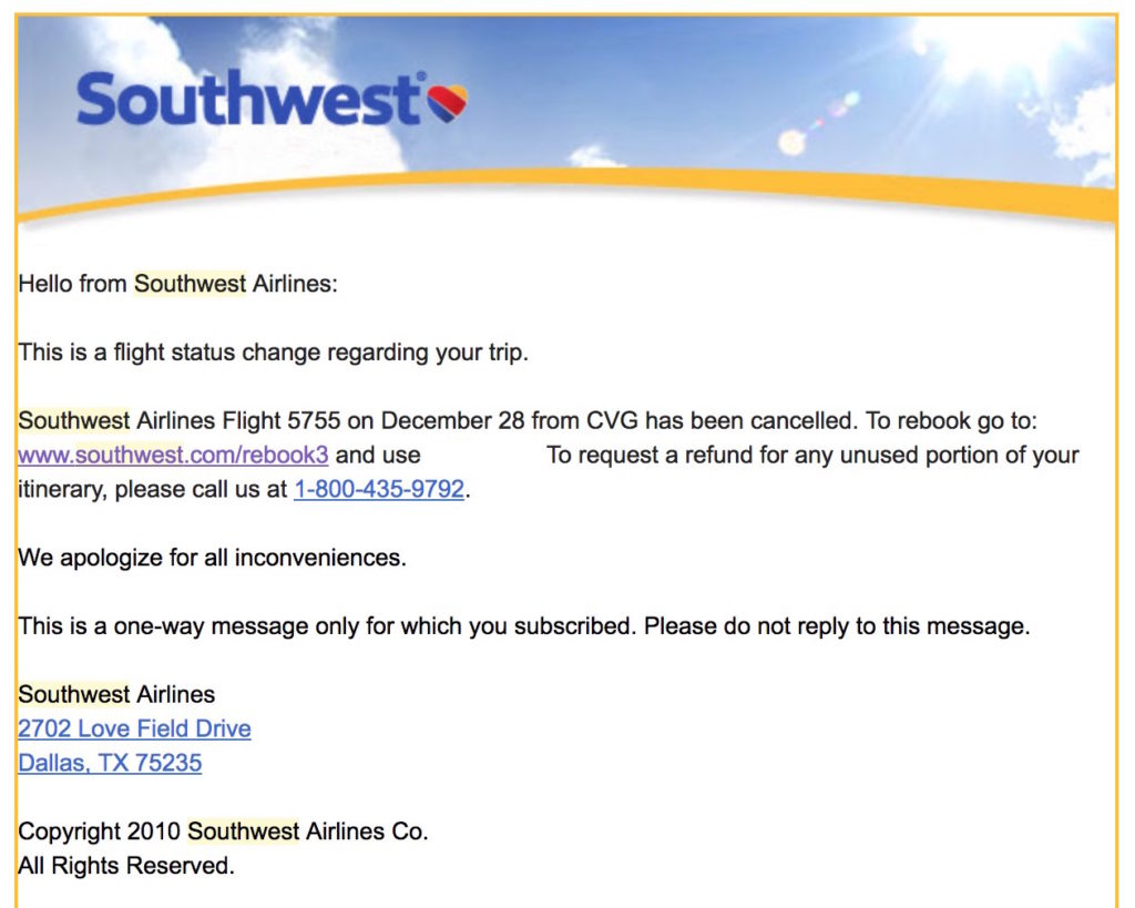 Southwest just canceled my flight (for snow that doesn't exist