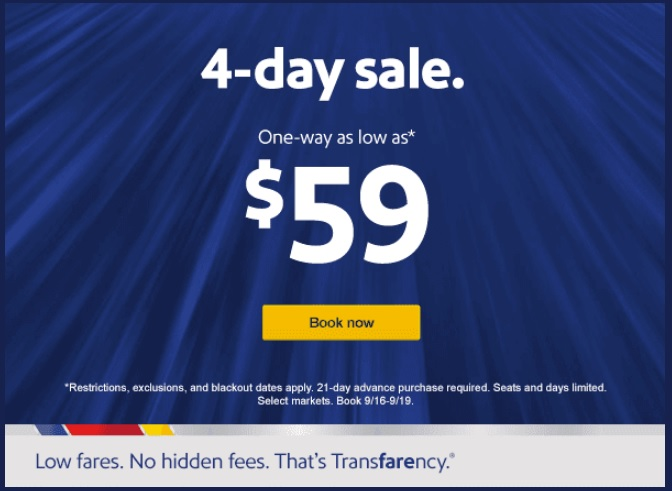 Southwest 4-Day Sale: $45 Flights One Way