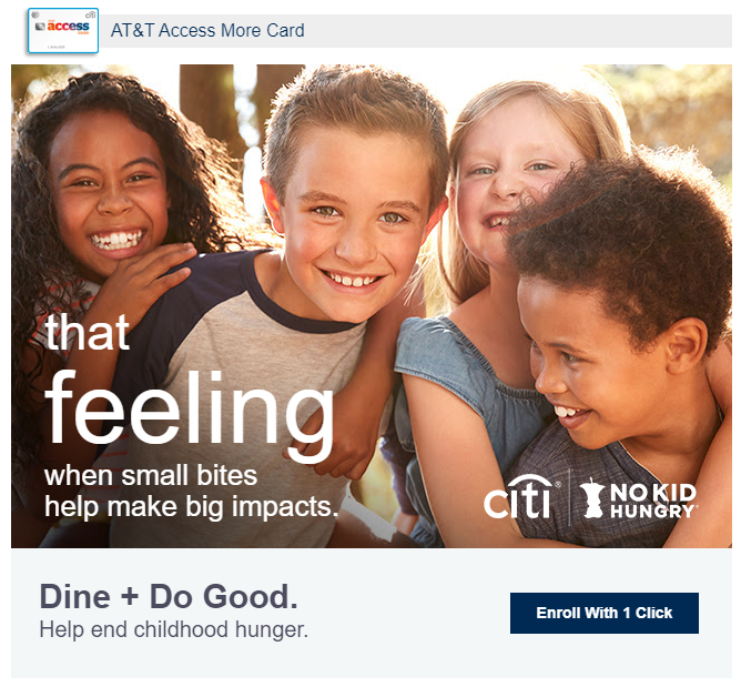 Swipe Your Citi Card at Lunch to Donate to No Kid Hungry!